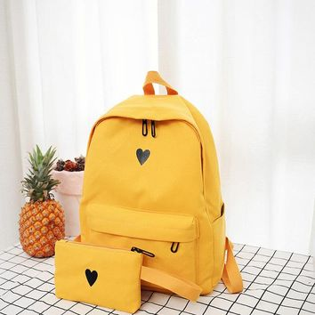 High Quality Canvas Printed Heart Yellow Backpack Style Students Travel Bag Girls School Bag Laptop Backpack