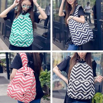 Chevron Backpack in Cotton Fabric with Zipper Closure School Bag in 4 Colors Gift Bookbag DOM106209