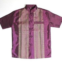 MEN CAMBODIA/THAILAND TRADITIONAL PURPLE DRESS SHIRT, BRAND-NEW, SIZE MEDIUM
