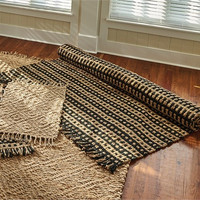Primitive Basketweave Braided Jute Rug