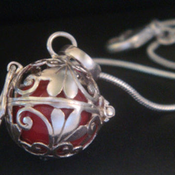 Harmony Ball, Bola Necklace, with a Red Chime Ball in an Ornate 925 Sterling Silver Cage | Baby Shower Pregnancy Gift , Angel Caller 365
