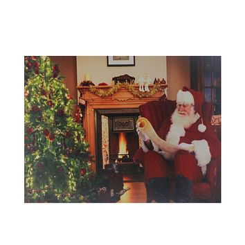 "Fiber Optic and LED Lighted ""Santa Checks His List"" Christmas Canvas Wall Art 12"" x 15.75"""