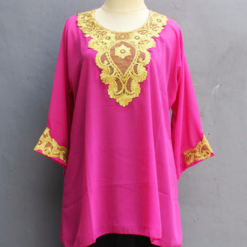 Blouse Sarrah Kaftan Tops Pink Dress Caftan Dress Chiffon Embroidery