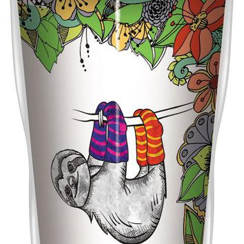 Hang in Sloth Flowers Travel Mug - Premium 16 oz Stainless Lined w/ No Spill Lid