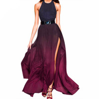 Long Chiffon Halter Maxi Dress
