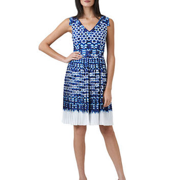 Adrianna Papell Ikat Print Pleated Dress