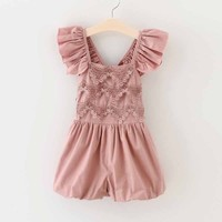 Toddler Girls Jumpsuit Shorts Baby Summer Playsuit Soft retro Lace Clothing One piece 2 7Y girls summer sets children's clothing-in Clothing Sets from Mother & Kids on Aliexpress.com | Alibaba Group