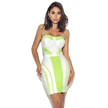 Pure Heart Strapless Bustier White and Neon Green Bandage Dress