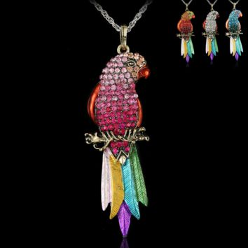 Retro Rhinestone Parrot Necklace