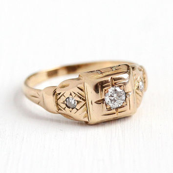 Vintage Engagement Ring - 14k Rosy Yellow Gold .26 CTW Diamond Band - Size 8 3/4 Art Deco 1930s Wedding Bridal Fine Three Stone Jewelry