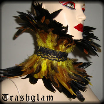 Trashglam  STEAMPUNK couture Victorian Gold yellow brown coque feathered neck CORSET choker COLLAR