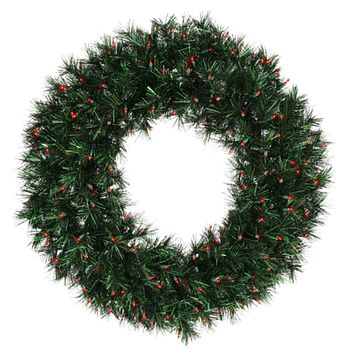 "48"" Pre-Lit Midnight Green Artificial Christmas Wreath - Red Lights"