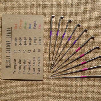 Set of 10 star felting needles, rainbow colour coded, 36, 38, gauge - wool roving - needle felting - merino wool - animal - kawaii - yarn