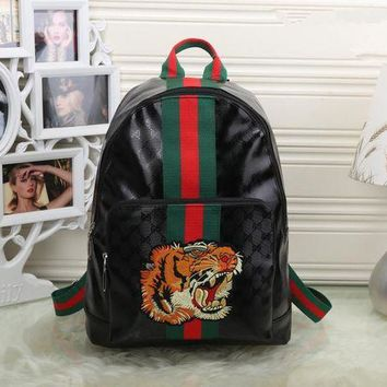 DCCKVQ8 Gucci' Unisex Casual Personality Fashion Classic Print Multicolor Stripe Tiger Head Embroidery Backpack Large Capacity Travel Double Shoulder Bag