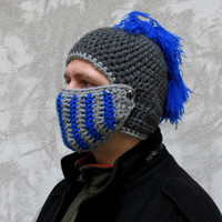 Men's Hat Crocheted Knight Helmet ,Grey royal blue Knight Beanie , Slouch Men Hat Winter Snowboard Ski Mask Bicycle