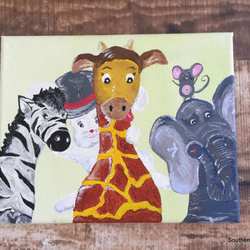 Original Nursery Painting Art Wall Hanging Silly Giraffe Elephant Mouse Bunny Zebra 8 X 10 Acrylic Watercolor