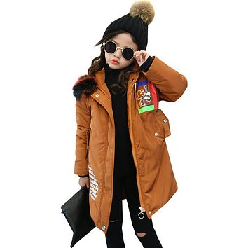 Girls Fashion Winter Coat Warm Fur Hooded Jacket New Cotton Thick Parkas for Kids Children Outwear