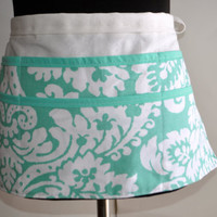 Spring Floral Apron, Utility Apron, Womens Vendor Apron, Teacher Apron, Aqua Carpenter Apron. Floral pastel utility apron, Floral apron