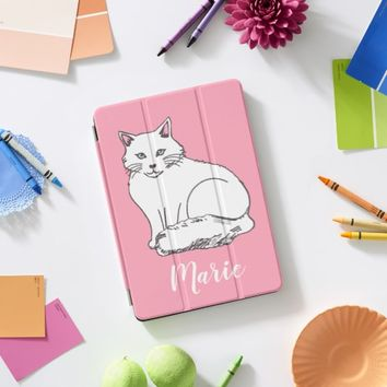 White Cat Pop Pink Personal iPad Cover