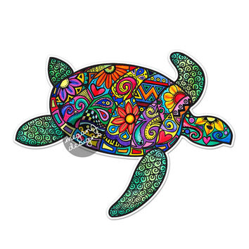 Sea Turtle Car Decal Colorful Design Bumper Sticker Laptop Decal Pink Green Teal Yellow Beach Flowers Cute Car Decal Hippie Boho Tribal