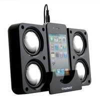 Naztech N40-11915 Portable Speaker System Dock for iPhone/BlackBerry/HTC/Samsung - Retail Packaging - Black