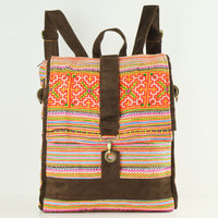 Square Backpack Purse Ethnic Tribe Embroidered School/Book Bag Back to school