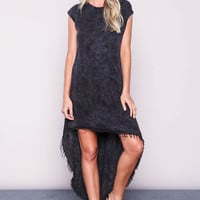 BLACK ACID WASH FRAYED DRESS