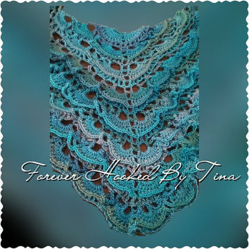 Crochet Virus Shawl in Tidal, Triangle Shawl, Shoulder Wrap, Shades of Blue Winter Wrap