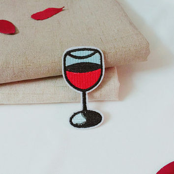 a glass of red wine patch-iron on patch-embroidered patch-patch for jacket