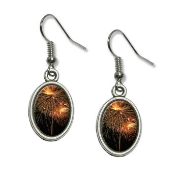 Fireworks - Fourth of July Dangling Drop Oval Earrings
