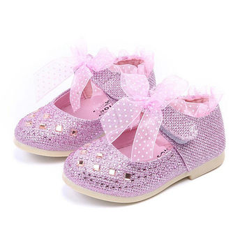 Children shoes girls Rhinestone lace Princess Single Girls Shoes for Girls Party Wedding pink Silver sneakers toddler shoes