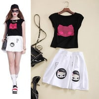 Embroidered Cat Face Sleeveless  A-Line Mini Skirt