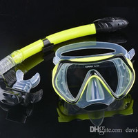 Promotion !2015 Scuba Diving Mask Snorkel Goggles Set Silicone Swimming Pool Mask Equipment b7 SV007079