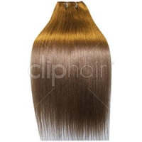 24 Inch Double Wefted Full Head Remy Clip in Human Hair Extensions - Lightest Brown (#18)