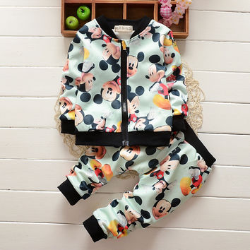 New Autumn Spring Tracksuit Girls Sports Suits Kids Clothes Zipper Sweatshirt Jogging 1-4T Children Boys Cartoon Clothing Sets