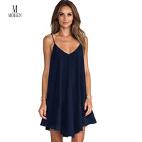 2016 Limited Natural Spaghetti Strap Solid Spandex Knee-length Loose Sleeveless Vestido Dress New Summer Cross Dress Beach