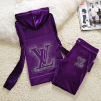 """LV"" New gradient embroider bead piece set auger fashion velvet suit sportswear Purple"