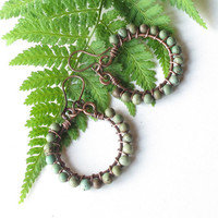 Green turquoise hoop earrings - wire wrapped copper with stone beads