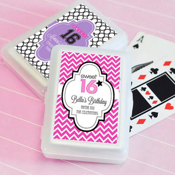 Personalized Sweet 16 or 15 Playing Cards - 24pc - Sweet 16 Birthday Favors - Sweet 15 Birthday Favors - Quinceanera Birthday - Invitation
