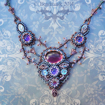 Dream Garden Bead Embroidered Necklace In Dusky Purples And Blues