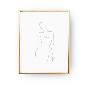 Female Figure Print, Female Body, Black And White, Minimal Art, Simple Fashion Print, Sketch Art, Fine Line, Minimal Illustration, Woman Art