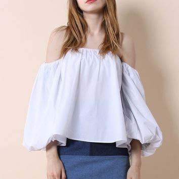 Blithe Bubble Off-shoulder Top in White