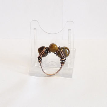 Tigers Eye, Wire Wrapped Bare Copper Ring with Upcycled Wire, Recycled, Natural Patina, Size P, Size 7 1/2, Large or Plus Size