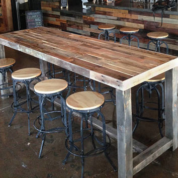 Reclaimed Wood Bar Restaurant Counter Community Rustic Custom Kitchen  Coffee Conference Office Meeting Table Hightop High