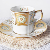 Royal Crown Derby Green Derby Panel Demitasse Teacup Coffee Cup Gold Teacup Floral Coffee Cup Real Gold Gilt Fine Bone China Gift for Her
