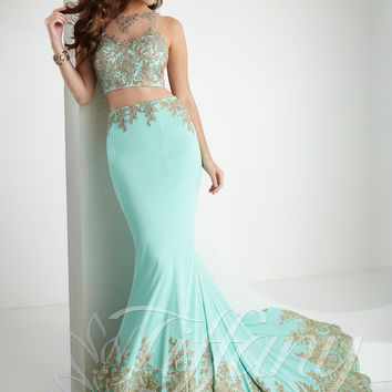 Embellished Crop Top Tiffany Designs Prom Dress 16160