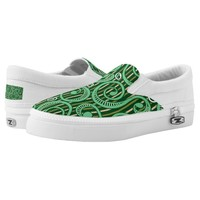 Caribbean Forest Green Tossing Vines Slip on Shoes