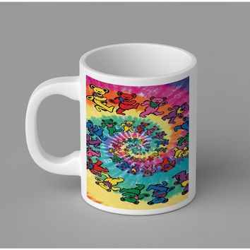 Gift Mugs | Grateful Dead Tie Dye Tapestry Ceramic Coffee Mugs