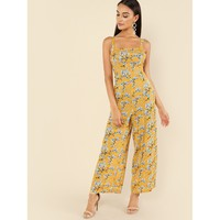 Thick Strap Floral Palazzo Jumpsuit