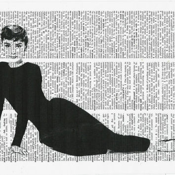 Print on Dictionary Paper,Mix Media Collage,Dictionary Art Print, Audrey Hepburn, Audrey Hepburn Art Print,Wall Decor, Vintage Art,Poster